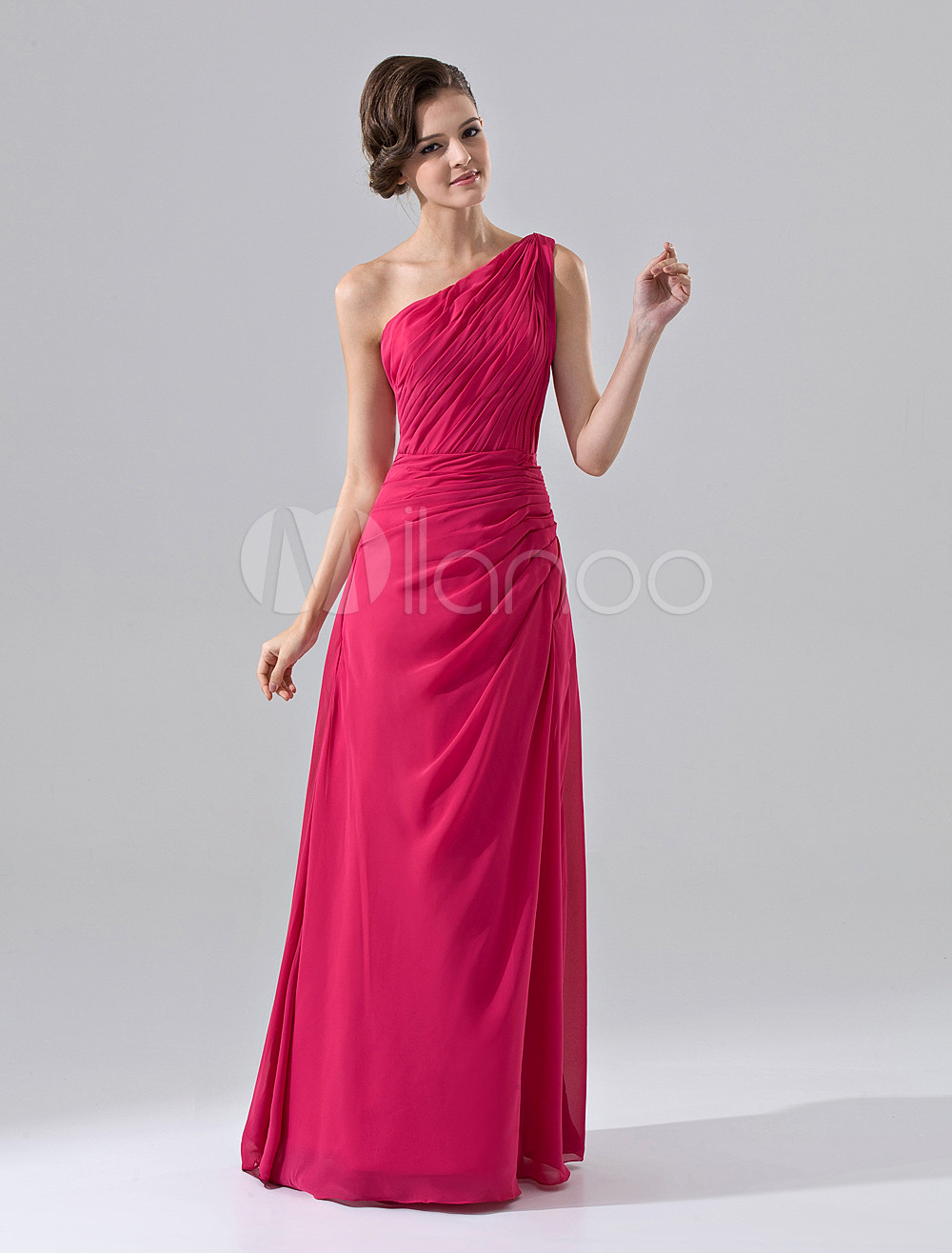 Maxi Bridesmaid Dress Hot pink Chiffon One Shoulder Ruched Floor Length Prom Dress