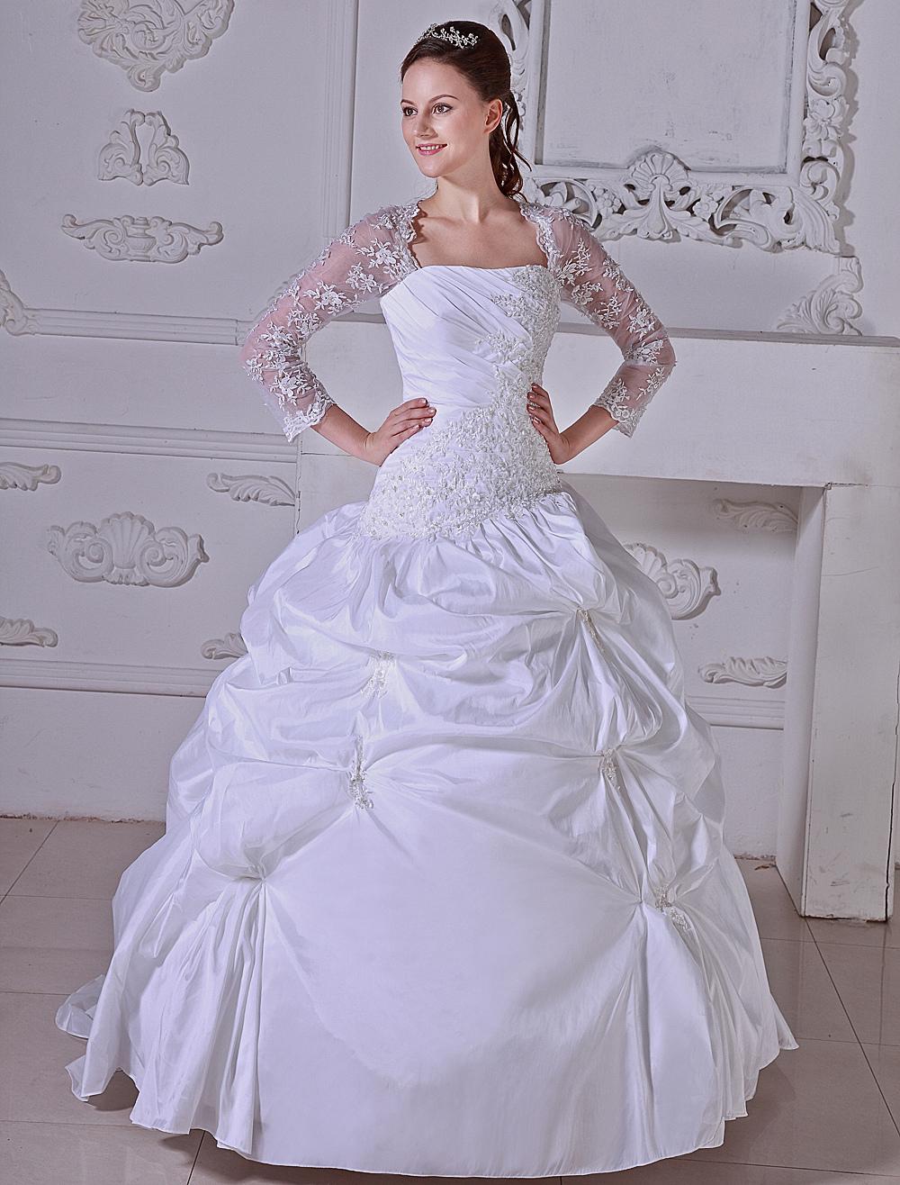 White Ball Gown Pleated Taffeta Wedding Dress photo