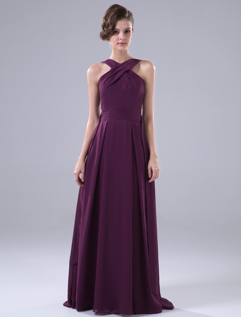 Burgundy Floor Length Halter A-line Matte Satin Chiffon Bridesmaid Dress