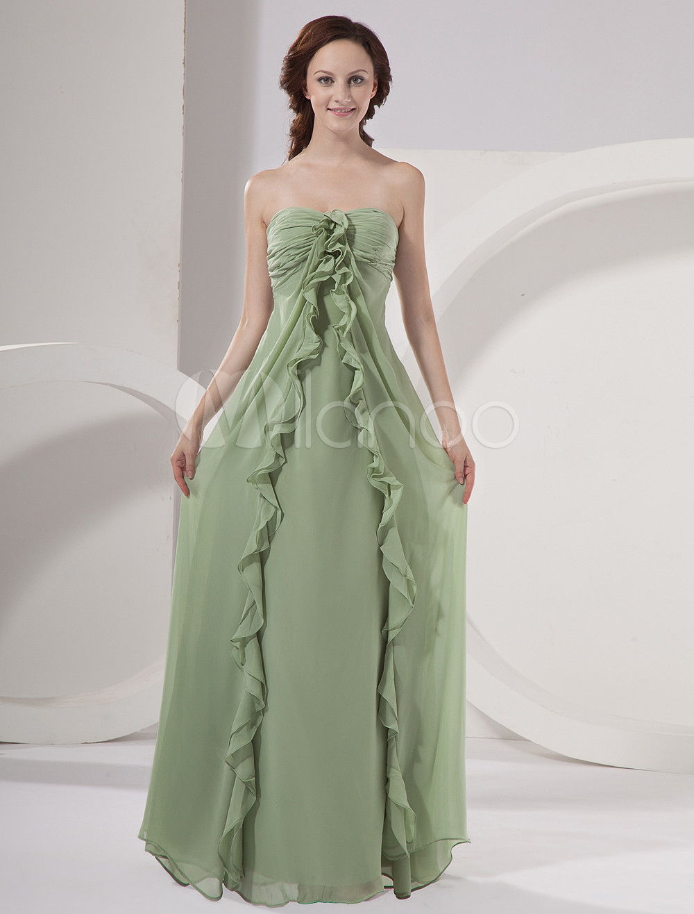 Army Green Cascading Ruffles Strapless Chiffon Bridesmaid Dress
