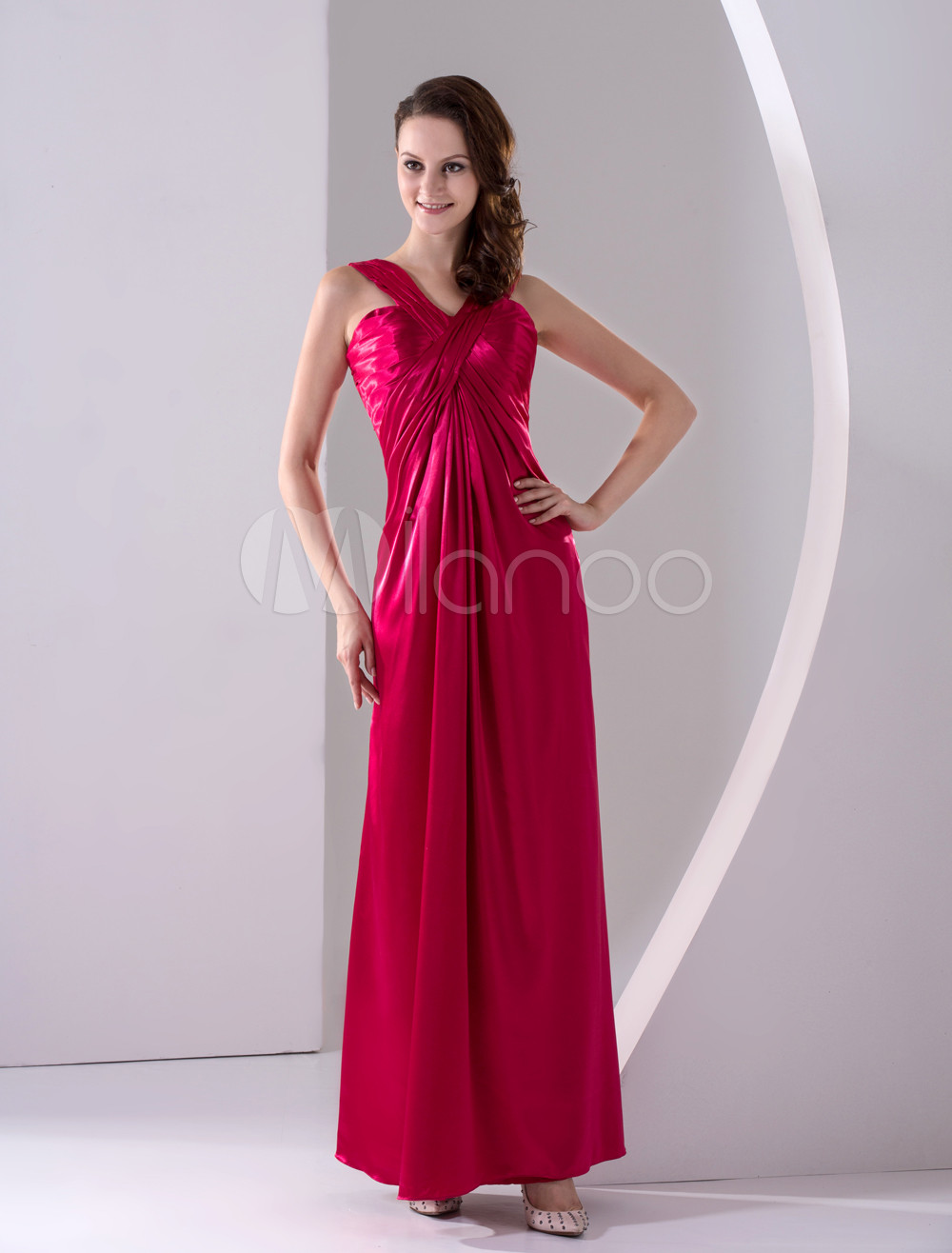 Wonderful Burgundy Suspender A-line Maxi Elastic Satin Bridesmaids Dress
