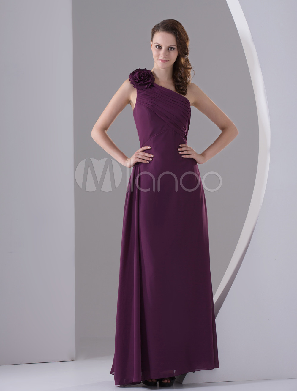 Burgundy Flower Pleated One-Shoulder Chiffon Matte Satin Bridesmaid Dress