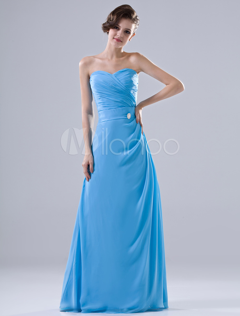 Attractive Blue Chiffon Sweetheart Floor Length Bridesmaid Dress