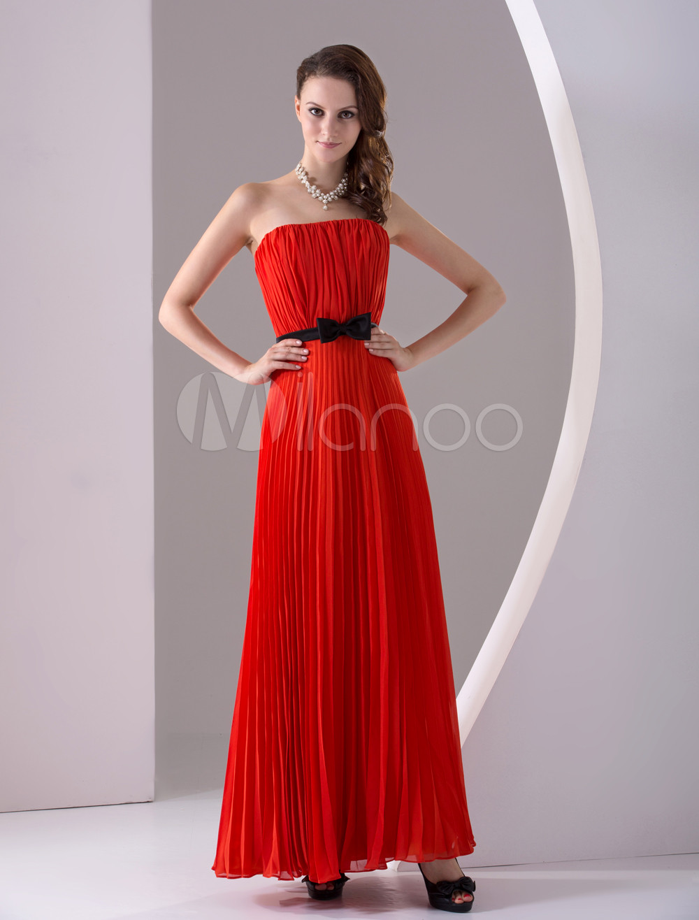 Simple Red Chiffon Strapless Ankle Length Womens Evening Dress (Wedding Cheap Party Dress) photo