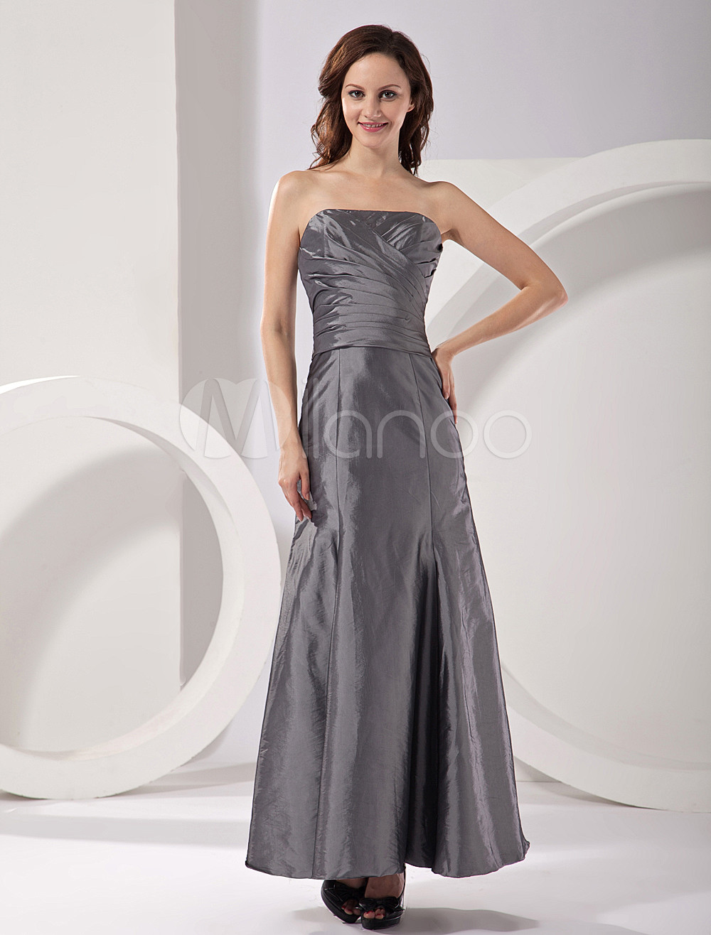 Silvery Strapless Satin Floor Length Womens Bridesmaid Dress