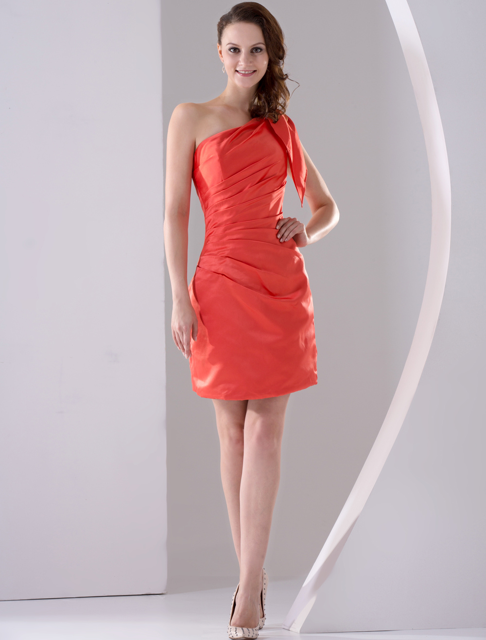 Graceful Orange Satin One-shouldered Knee Length Bridesmaid Dress