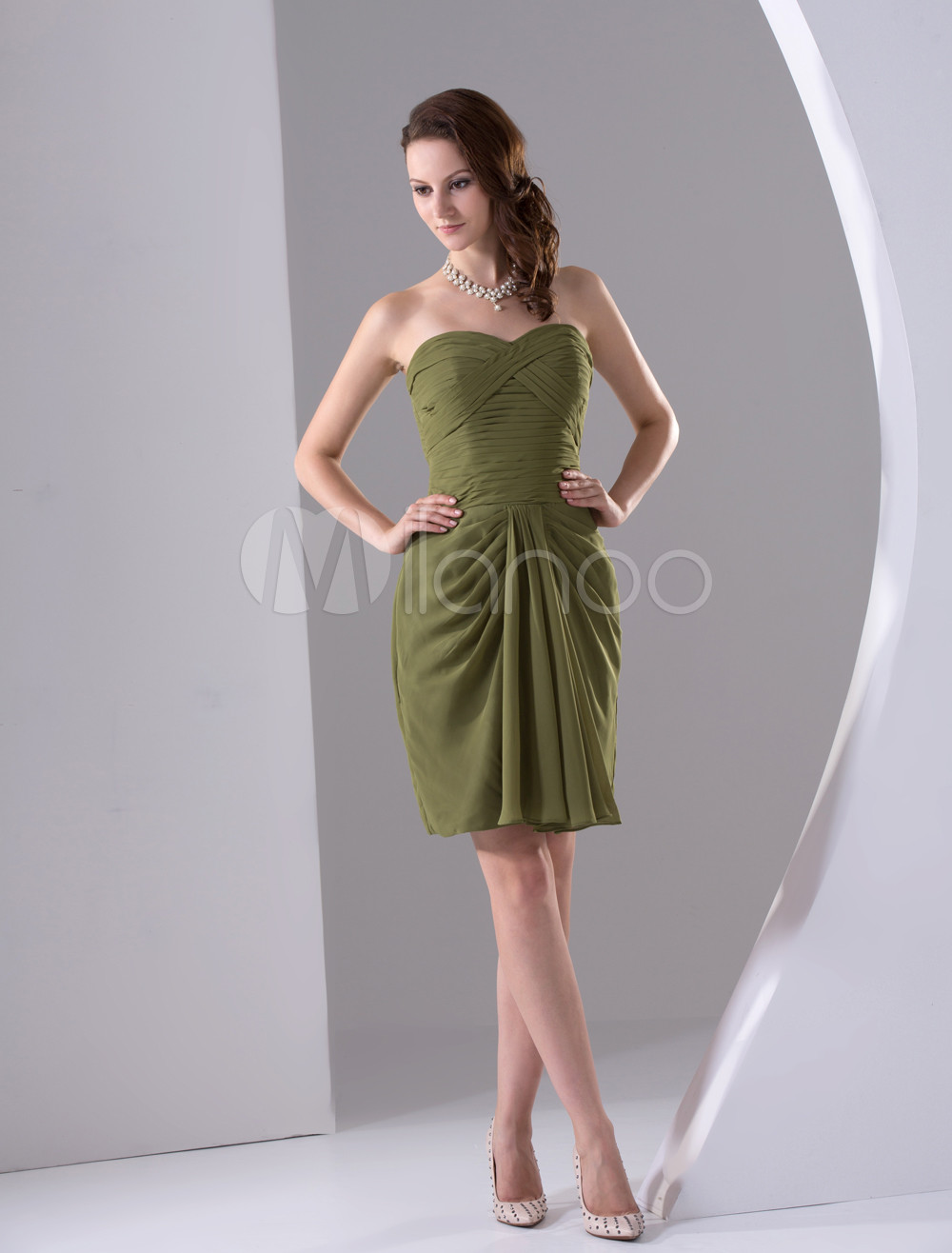 Army Green Mini Length Strapless Chiffon Bridesmaid Dress