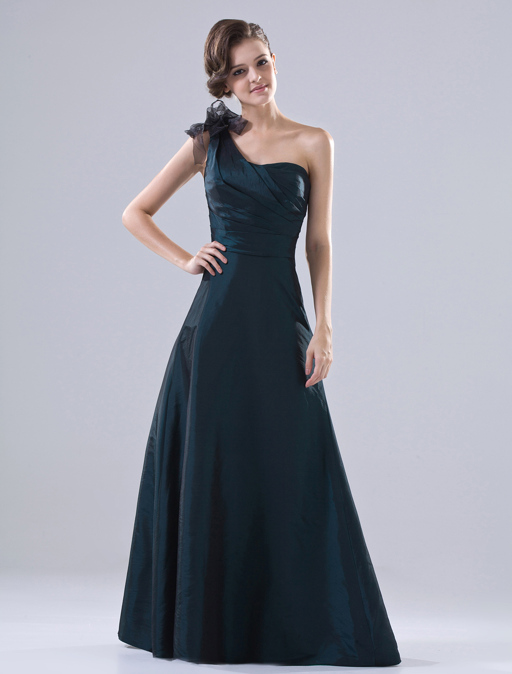Ink Blue Bridesmaid Dress Taffeta One Shoulder Ribbon A Line Maxi Party Dress