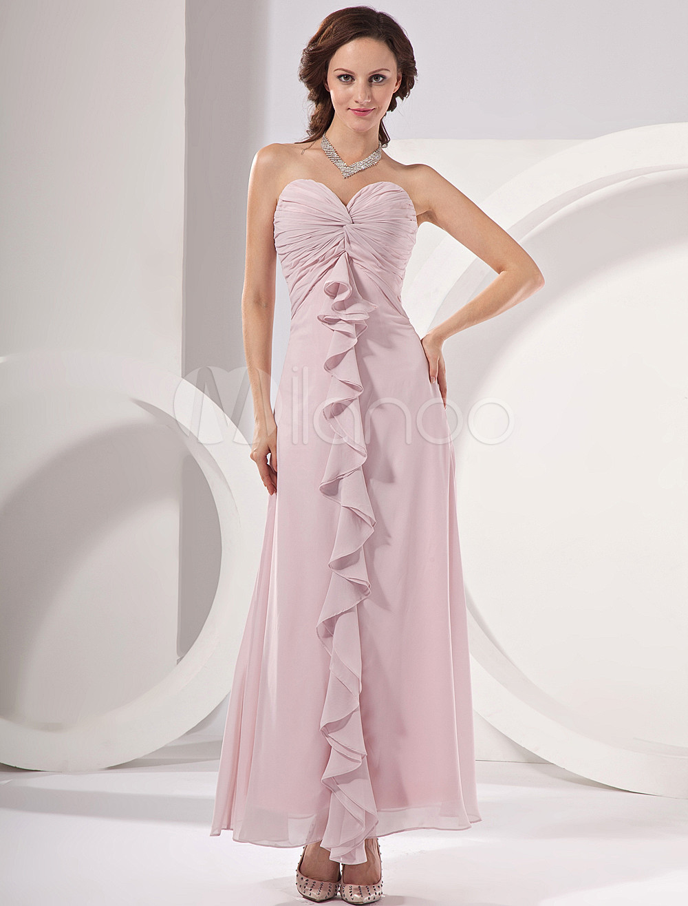 Sheath Pink Chiffon Cascading Ruffle Sweetheart Neck Bridesmaid Dress