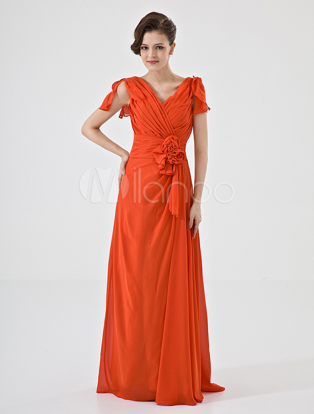 Orange V-Neck A-line Flower Chiffon Matte Satin Bridesmaid Dress
