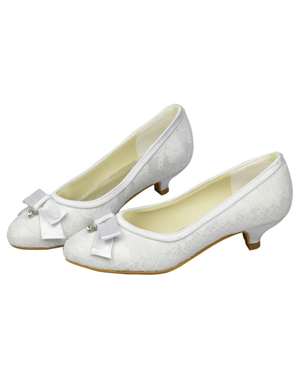 White Bow Kitten Heel Satin Bridal Wedding Shoes - Milanoo.com