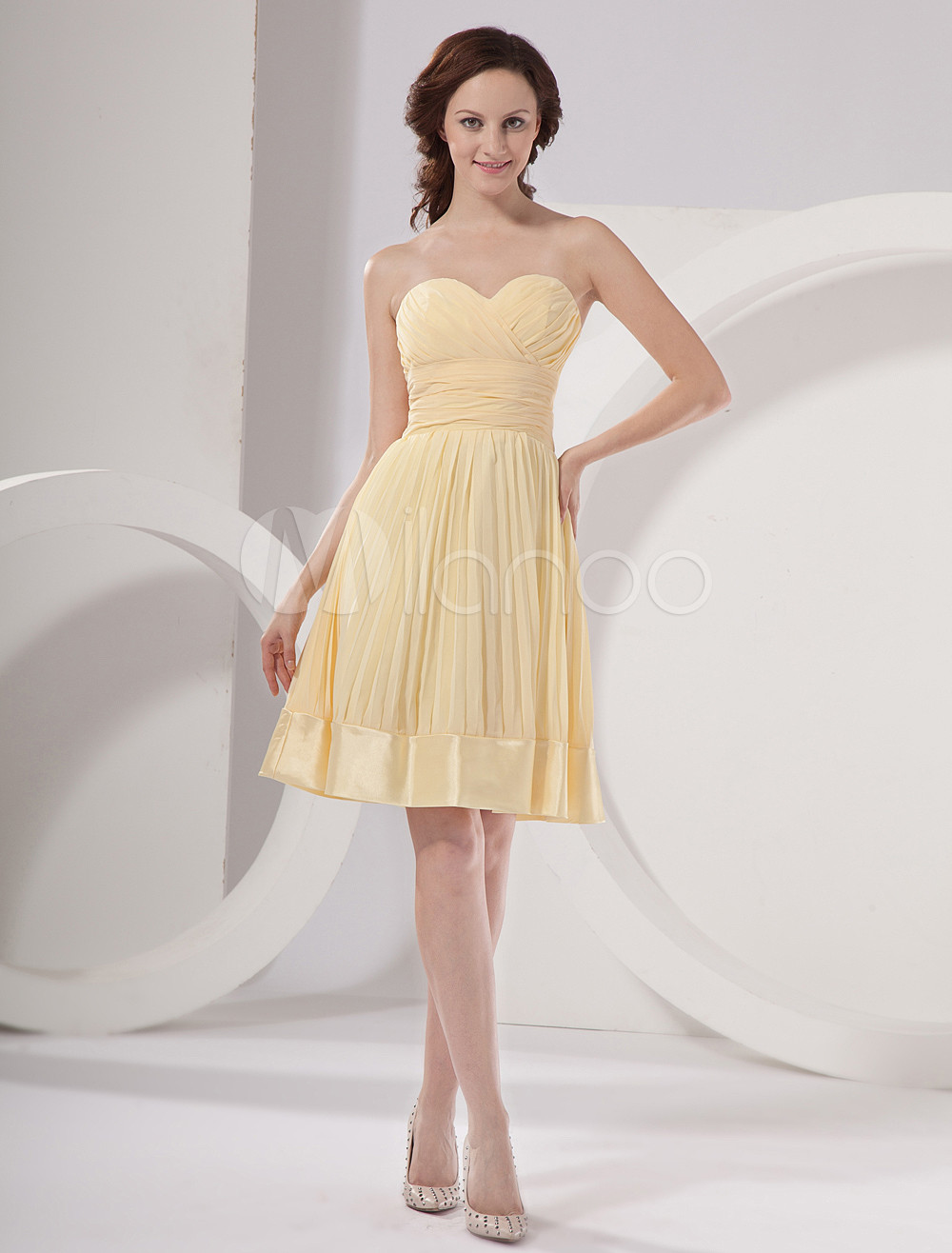 Lily Yellow Strapless Taffeta Knee Length Womens Bridesmaid Dress
