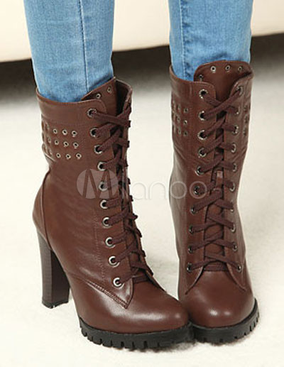 Bottines Talons Pais Sexy En Pu Clout Lacets