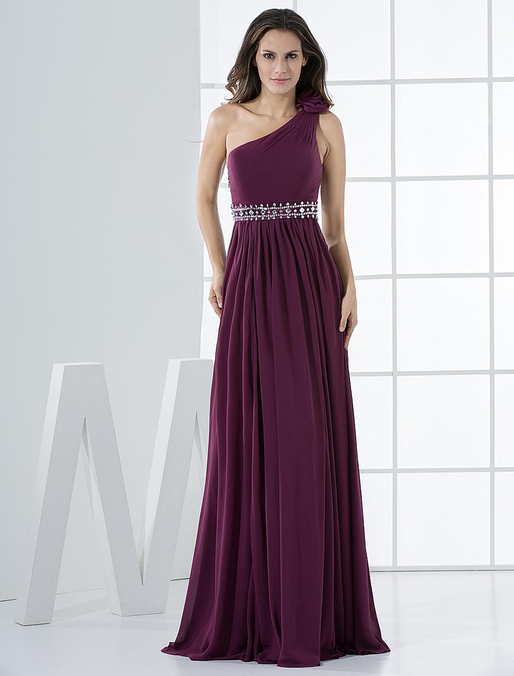 Grape Elegant A-line Rhinestone One-Shoulder Long Evening Dress (Wedding Evening Dresses) photo