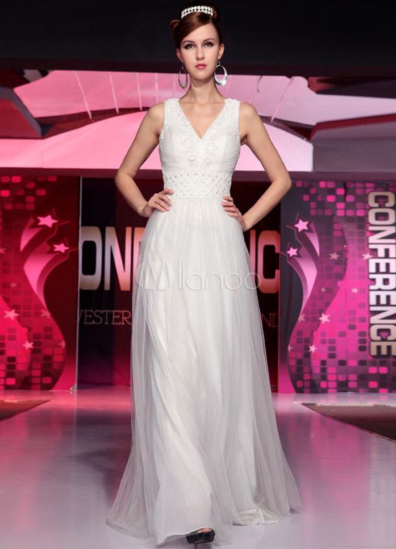 Ivory V-Neck Sleeveless Lace Silk-Like Bridal Wedding Dress