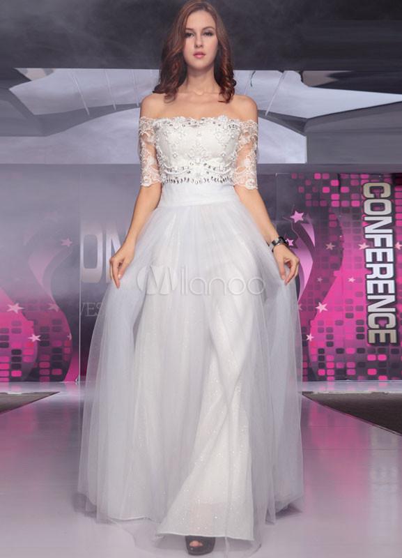 Ivory Off-The-Shoulder Lace Elastic Silk Like Satin Bridal Wedding Dress