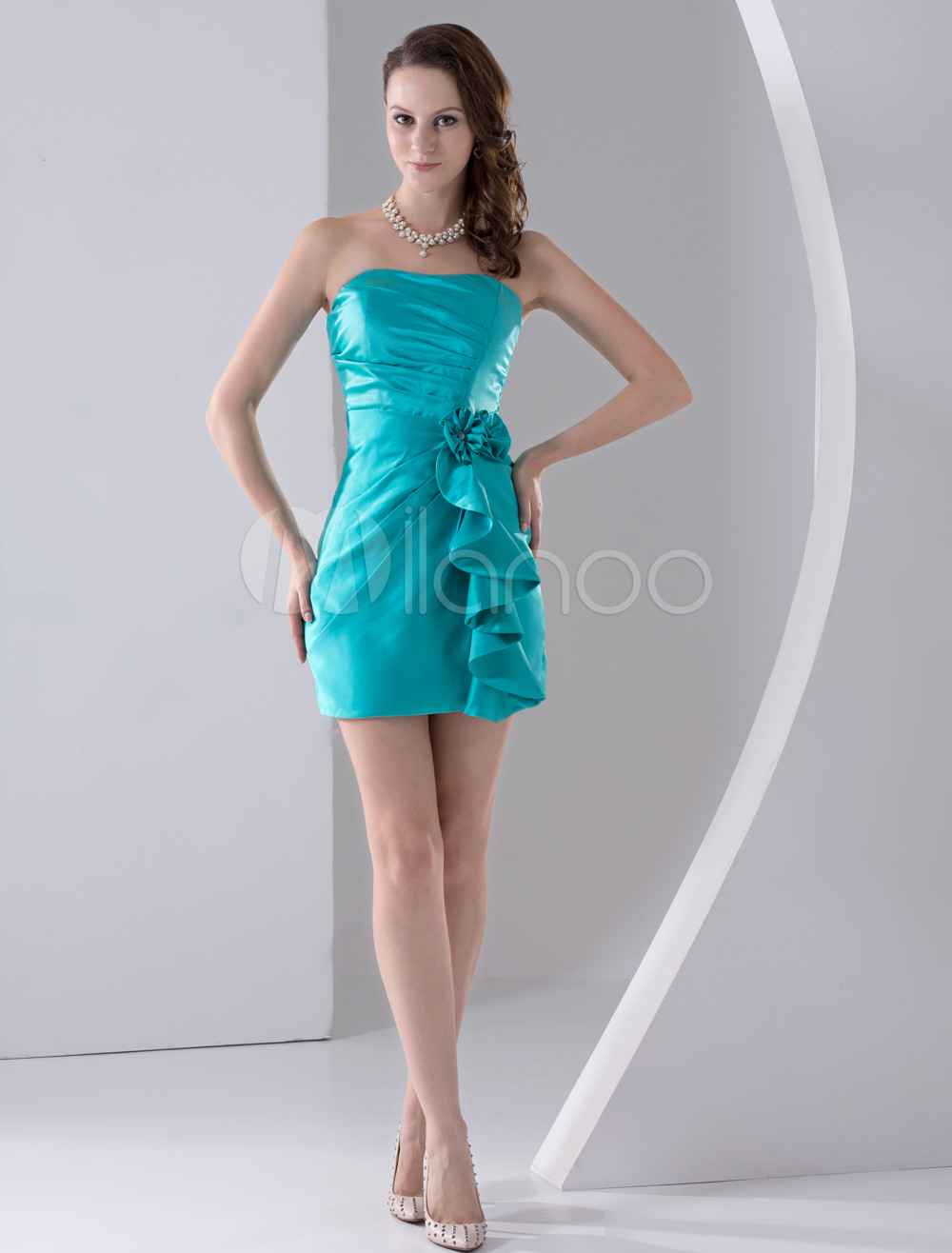 Mini Bridesmaid Dress Turquoise Strapless Satin flower Ruched Ruffle Bodycon Party Dress