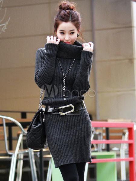 Deep Grey Long Sleeves Viscose Woman's Shaping Knitted Dress