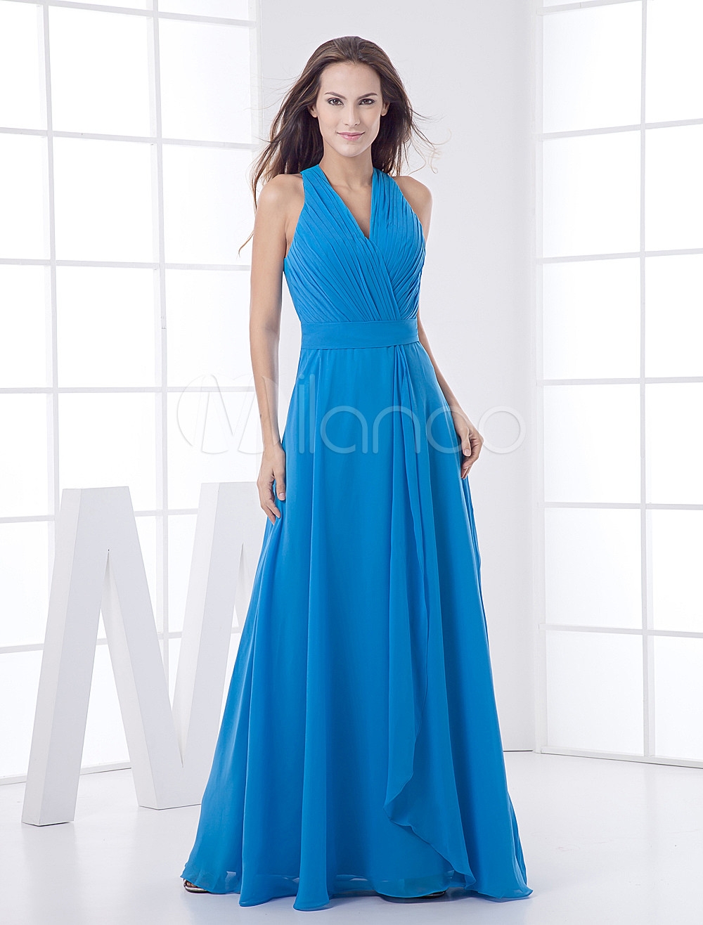 Royal Blue Floor Length V-neck Chiffon Bridesmaid Dress