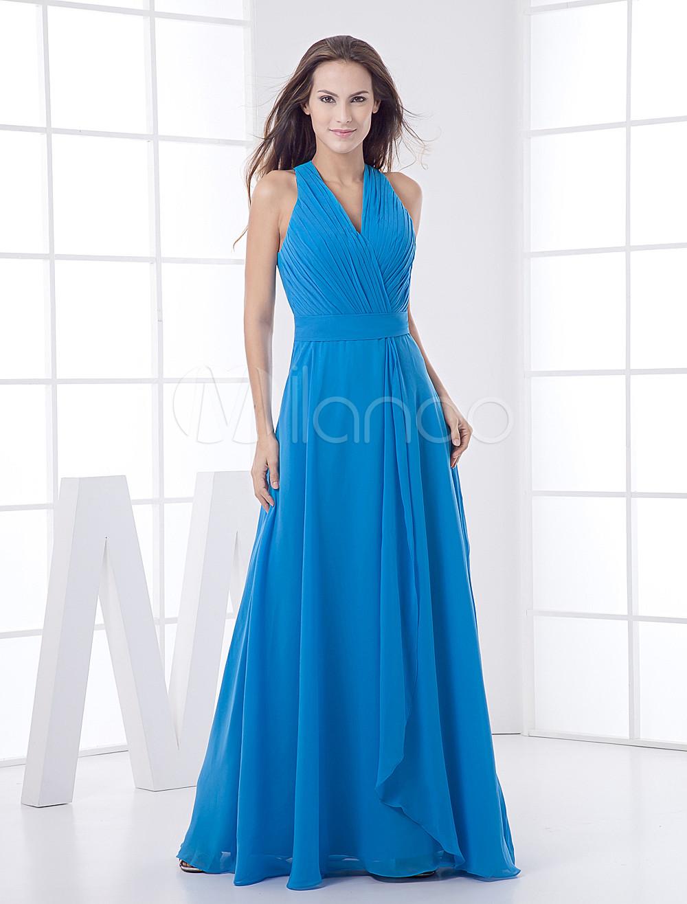 Royal Blue Floor Length V-neck Chiffon Bridesmaid Dress