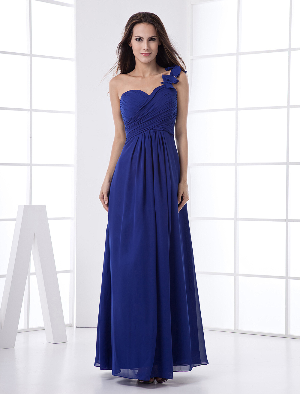 Elegant Royal Blue Floor Length One Shoulder Bridesmaid Dress