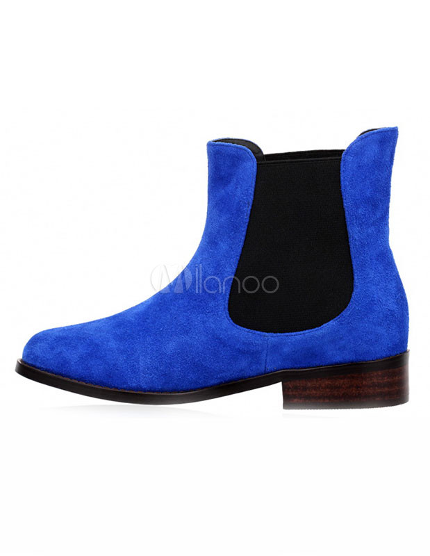 Royal Blue Stretchy Monogram Suede Woman's Flat Booties photo