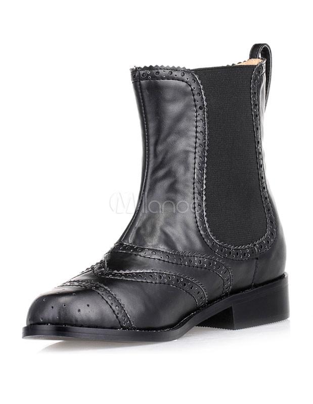 schwarze chelsea boots aus pu f r damen. Black Bedroom Furniture Sets. Home Design Ideas