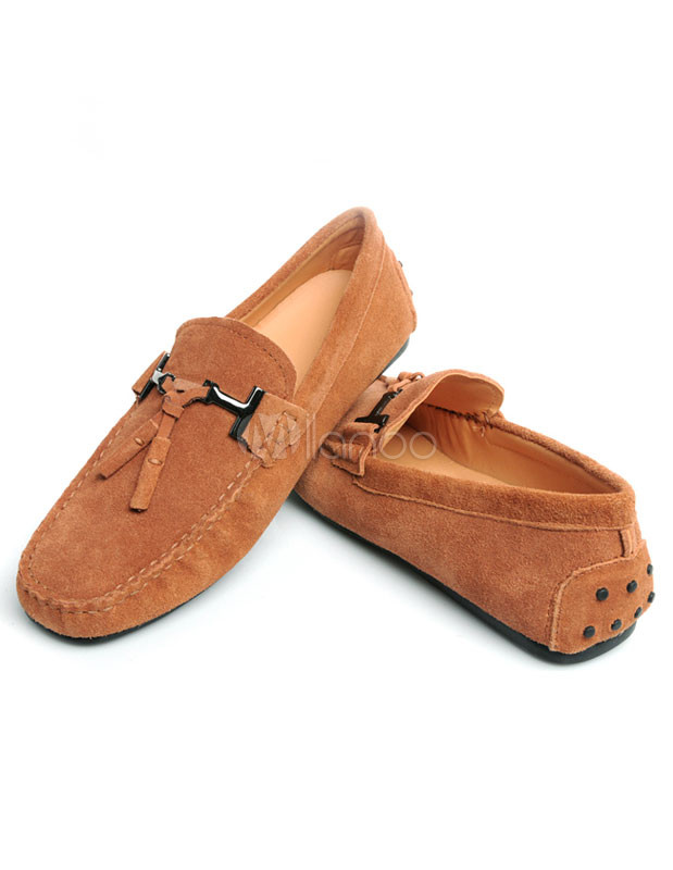 Round Monogram Cowhide Men's Loafer Shoes photo