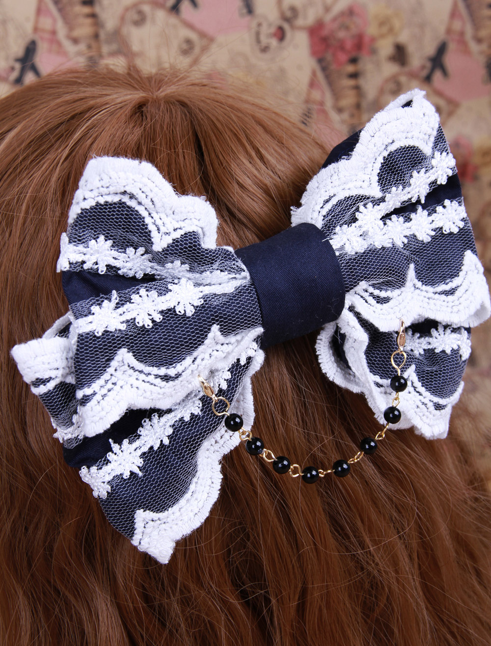 Blue Big Bow Cotton Lolita Hair Pin