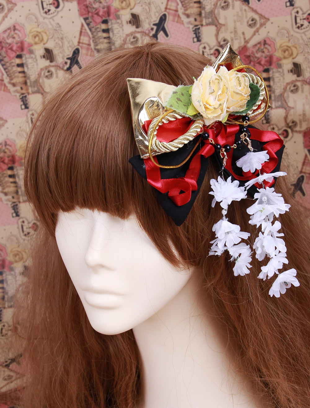Gold Bow Flower Decoration Cotton Lolita Hairpin