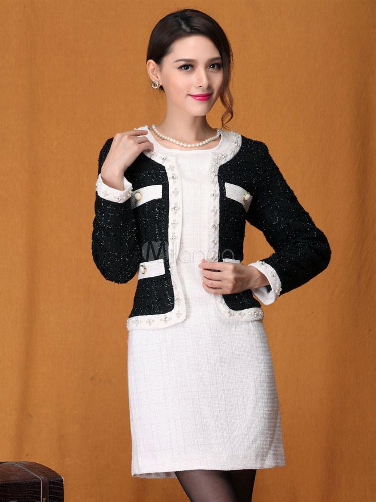 Chic Black White Color Blocking Wool Blend Women's Fake Two Piece Dress