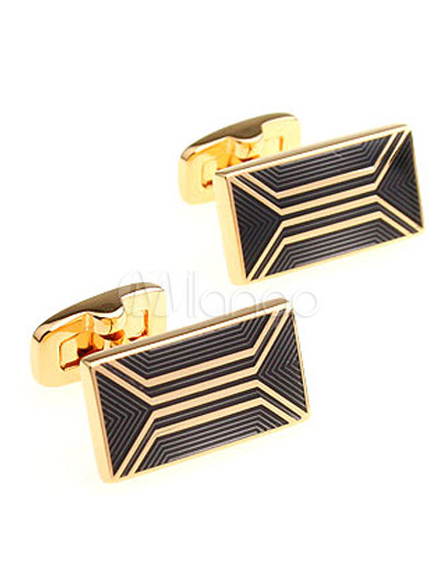 Noble Golden Square Men's Fashion Cufflinks thumbnail
