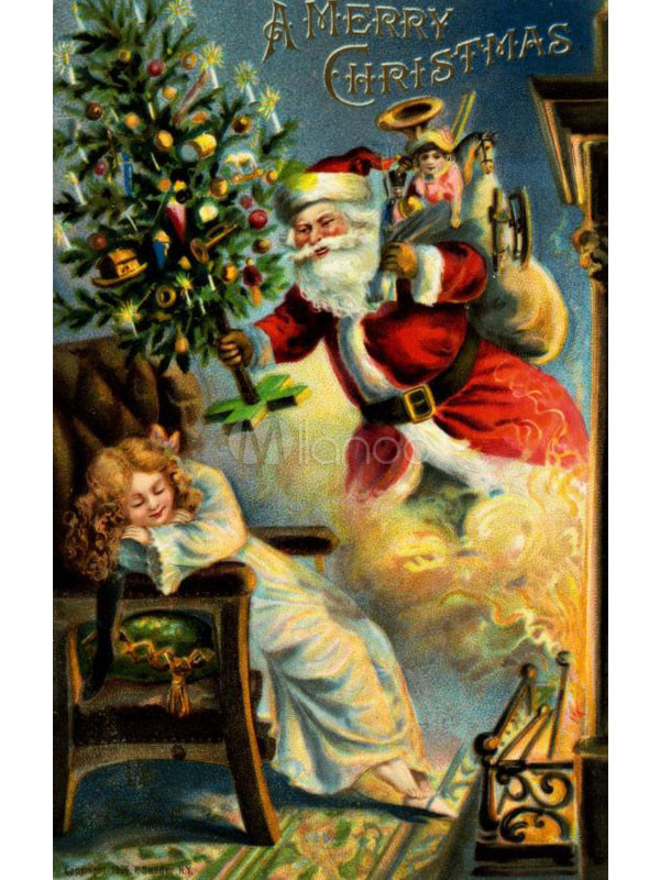 Santa claus canvas hand painted oil painting for Painted christmas cards