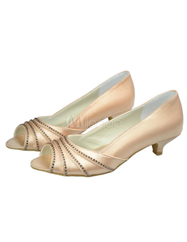 Champagne Satin Shoes Low Heel