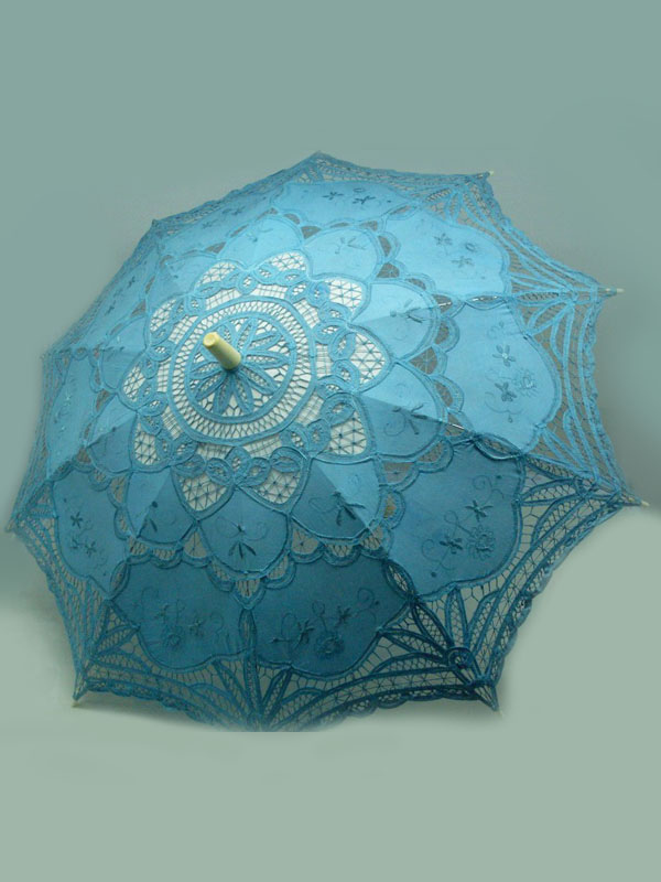 Attractive Blue Lace Wedding Umbrella $21.99 AT vintagedancer.com