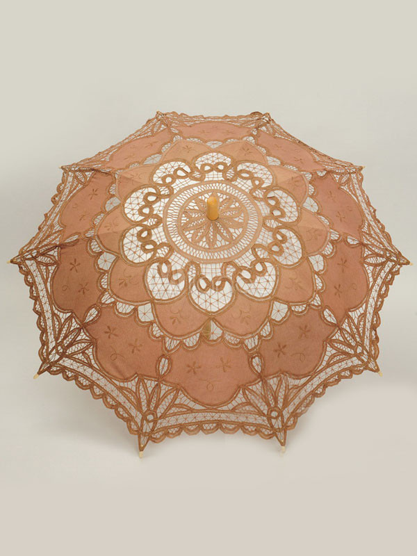 Brown Cut Out Lace Wood Wedding Umbrella $24.99 AT vintagedancer.com