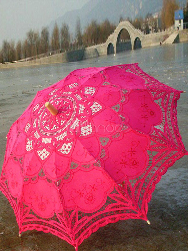 Fuchsia Cut Out Lace Wood Wedding Umbrella $24.99 AT vintagedancer.com