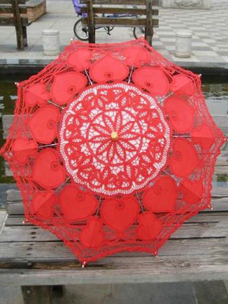 Red Cut Out Lace Bridal Wedding Umbrella $24.99 AT vintagedancer.com