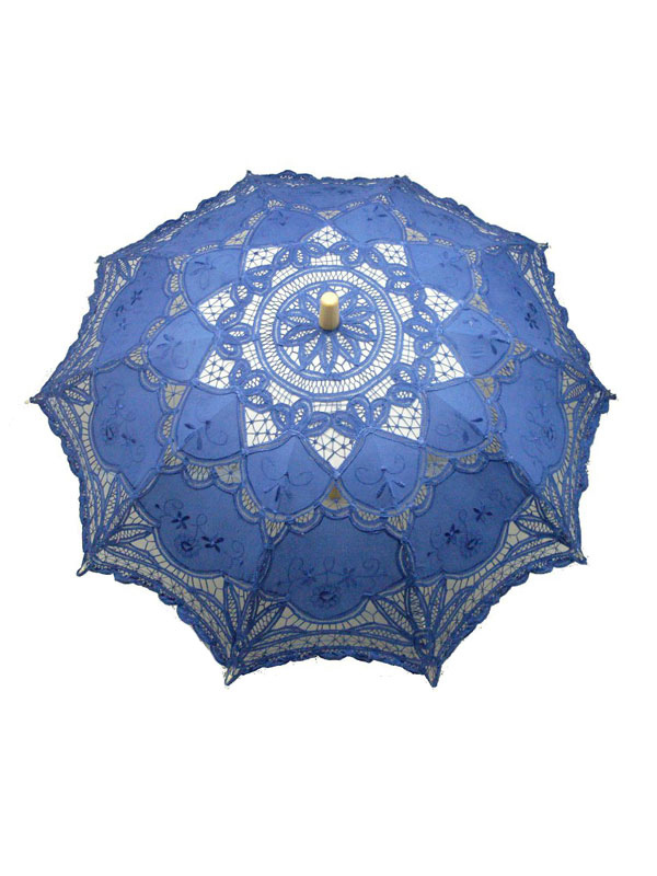 Mysterious Blue Wood Lace Wedding Umbrella $21.99 AT vintagedancer.com