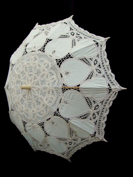 Ivory Lace Wood Wedding Umbrella $24.99 AT vintagedancer.com