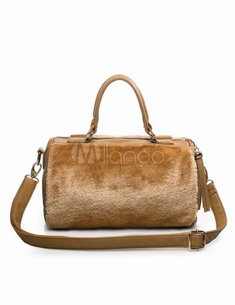 Glamour Brown Cylindrical Shape Furry Faux Fur Women's Tote Bag