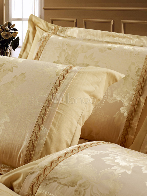 goldene luxus bettw sche set 4 teilig baumwolle fantastische print. Black Bedroom Furniture Sets. Home Design Ideas