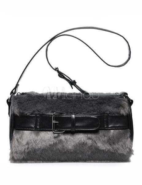 Cylindrical Shape Faux Fur Shoulder Bag For Woman