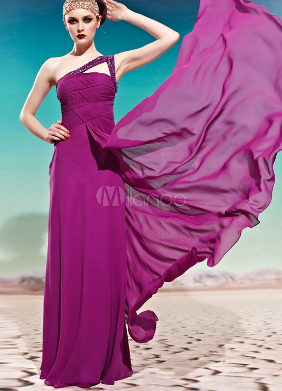 Purple One-Shoulder A-line Crystal Polyester Woman's Bridesmaid Dress