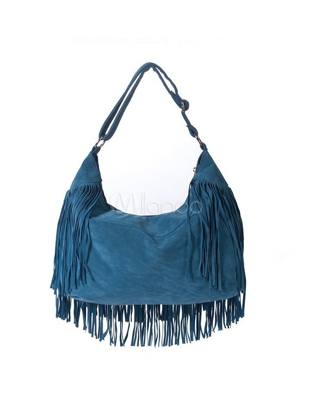 Blue Fringe Faux Suede Women's Hobo Bag