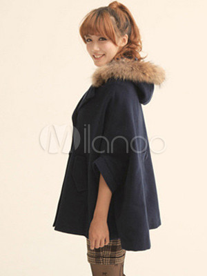 manteau cape femme tendance coton bleu marine. Black Bedroom Furniture Sets. Home Design Ideas