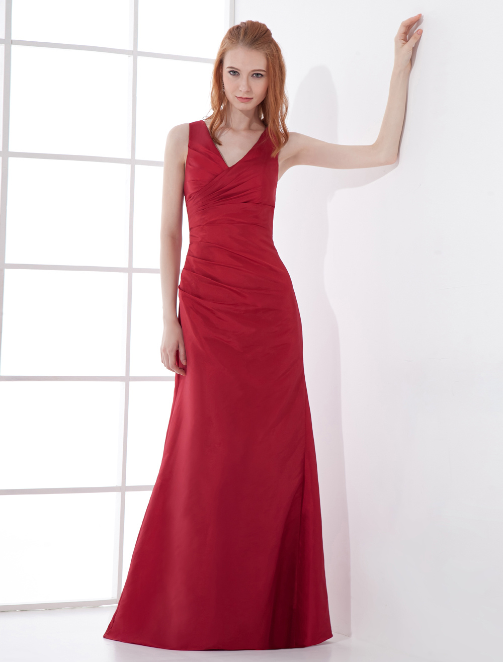 Sheath Burgundy Taffeta Zipper Floor-Length Bridesmaid Dress For Wedding