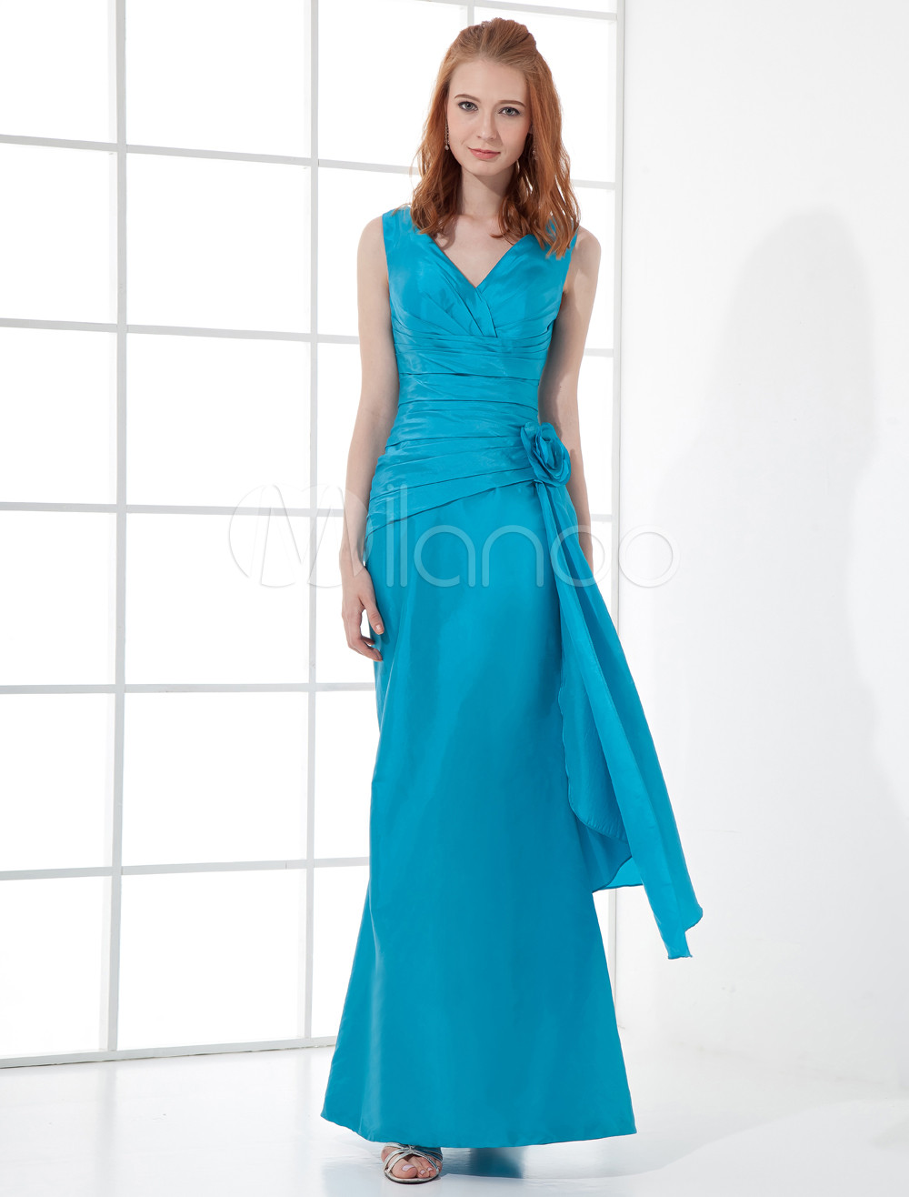 Long Bridesmaid Dress Teal V Neck Prom Dress Sleeveless Ruched Waist Flower Satin Floor Length Occasion Dress