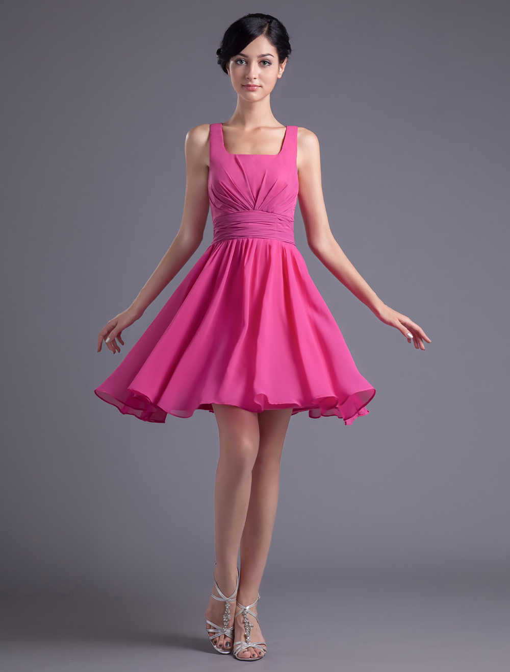 A-line Fuchsia Chiffon Zipper Knee-Length Bridesmaid Dress For Wedding