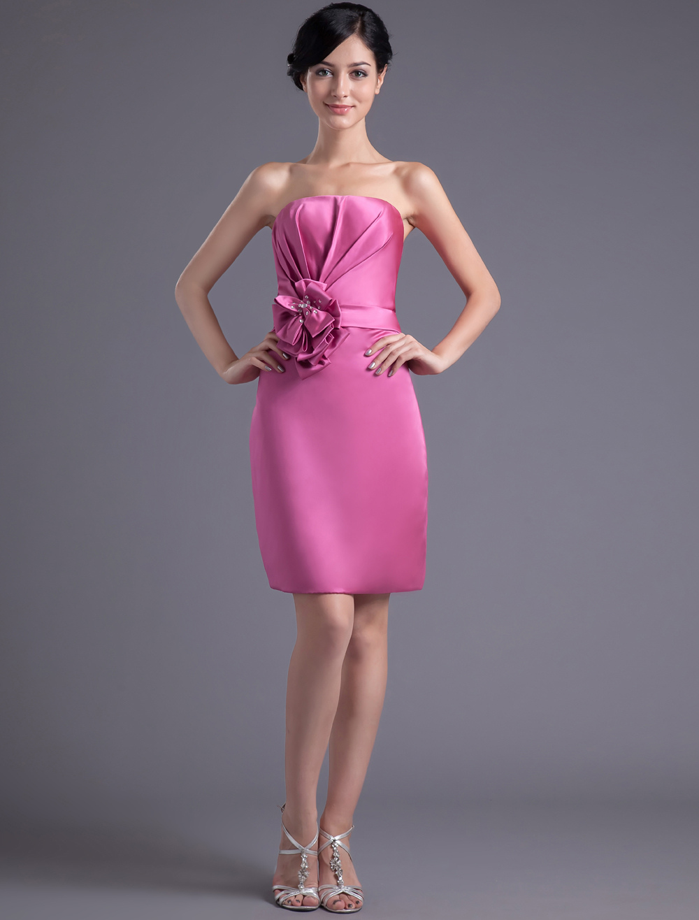 Sheath Fuchsia Satin Floral Strapless Wedding Bridesmaid Dress